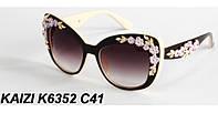 Солнцезащитные очки KAIZI 6352 с розочками коричневые