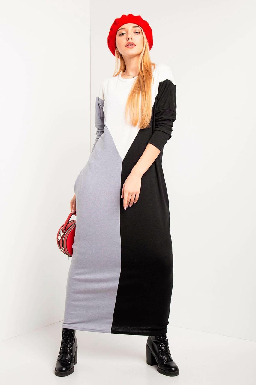a5fc9d367720 Прямое трикотажное платье макси IVER с длинными рукавами и карманами -  motus в Ивано-Франковске
