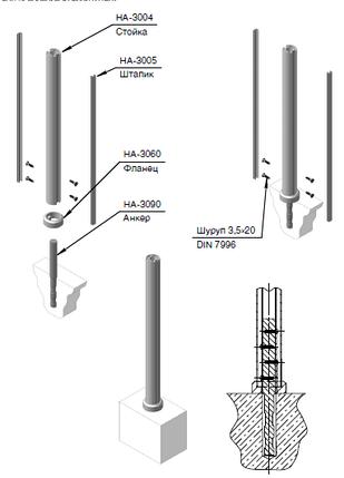 Анкер для стойки  оцинкована сталь 40 мм, фото 2