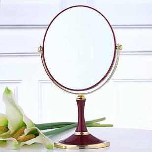 Косметическое двойное овальное зеркало настольное, бордовое