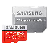 Карта памяти Samsung 256 GB microSDXC Class 10 UHS-I U3 EVO Plus + SD Adapter MB-MC256DA