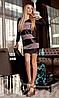 Молодежное облегающее женское платье с округлым декольте полосы из эко кожи микродайвинг