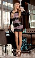 Молодежное облегающее женское платье с округлым декольте полосы из эко кожи микродайвинг, фото 1