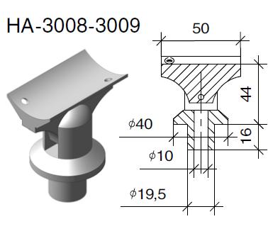 Комплект шарнирный стойка-поручень 40х50 мм, фото 2