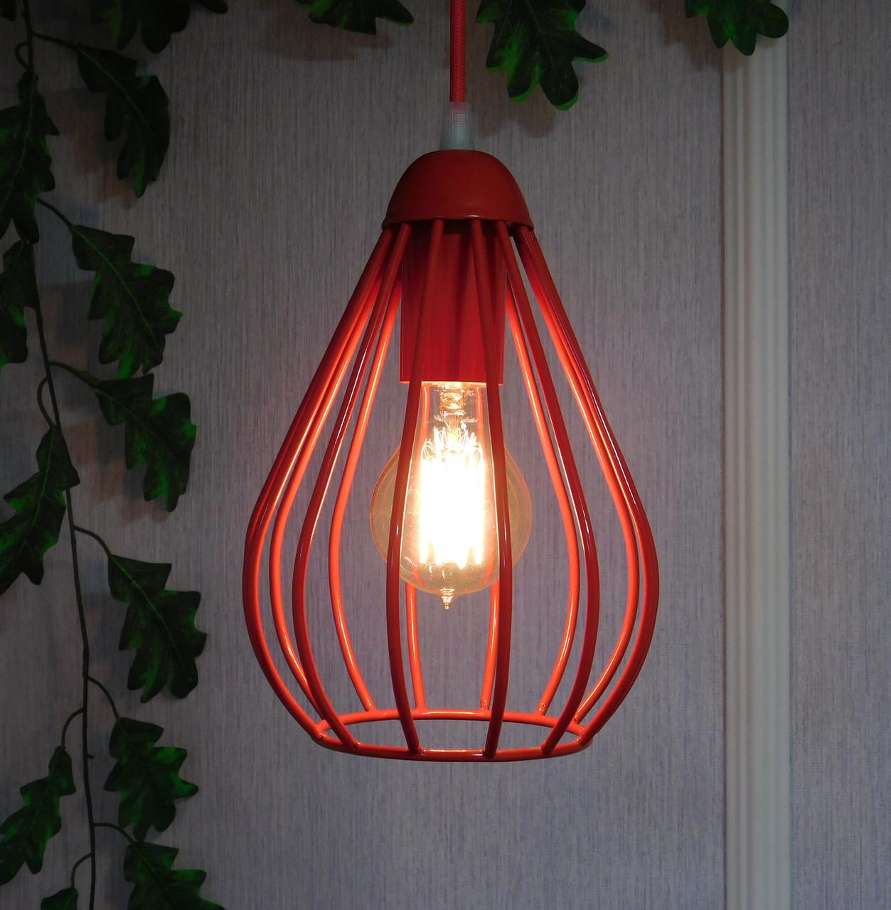 """Подвесной металлический светильник, современный стиль, loft, vintage, modern style """"KAPLIA-RM"""" Е27  красный"""