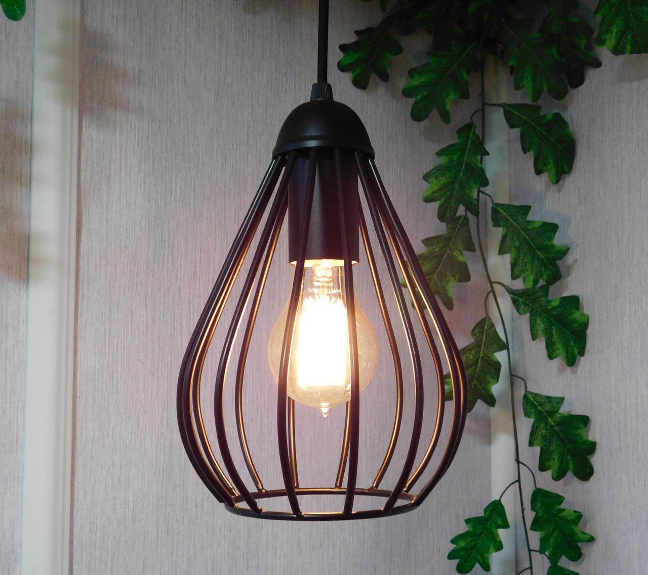 """Подвесной металлический светильник, современный стиль, loft, vintage, modern style """"KAPLIA-M"""" Е27  черный цвет"""