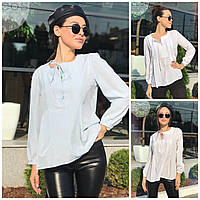 Женская свободная блуза на завязках 18229, фото 1