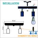Настенный светильник, спот поворотный, потолочная лампа, на две лампы mini, черный цвет, фото 4