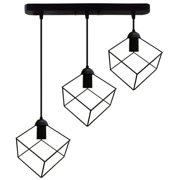 """Подвесной металлический светильник, современный стиль, loft, vintage, modern style """"CUBE-3"""" Е27  черный цвет"""