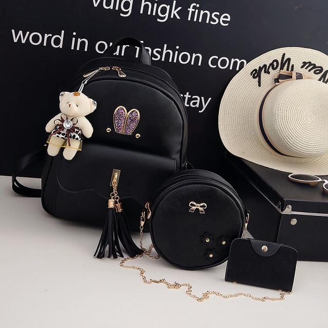 Рюкзак с ушками 3 в 1 черный
