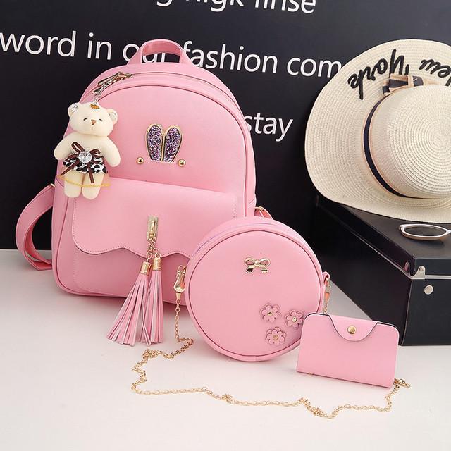 Рюкзак с ушками 3 в 1 розовый