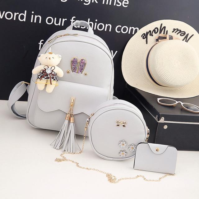 Рюкзак с ушками 3 в 1 серый