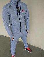 d7c5e0bd65a Спортивный костюм мужской серый модный светлый Reebok UFC Рибок ЮФС