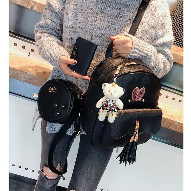 Рюкзак с ушками с набором аксессуаров черный