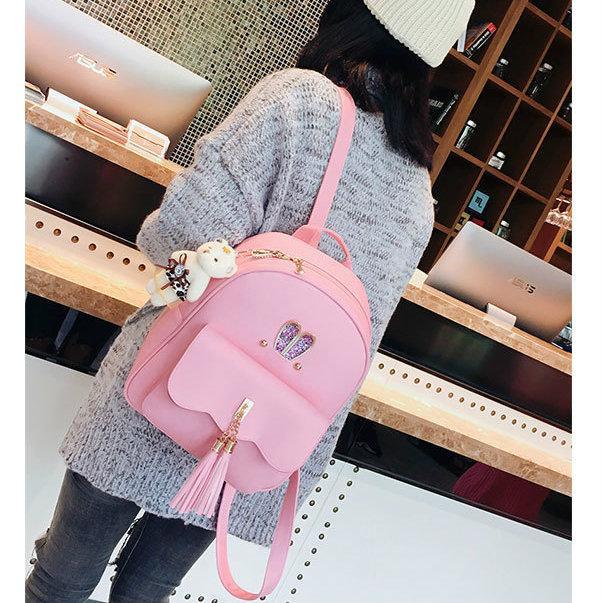 Рюкзак с ушками с набором аксессуаров розовый
