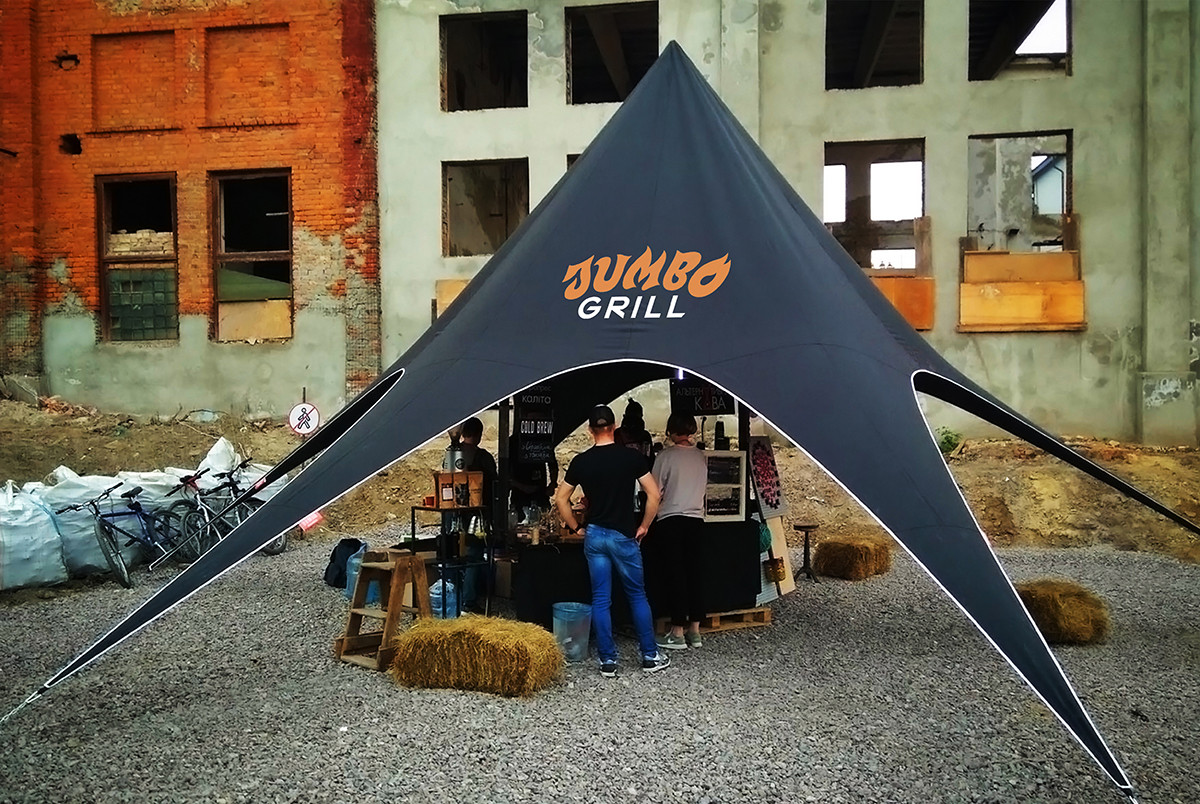 Тент Звезда Черный, 10 м - Брутальный шатер на 15-20 человек