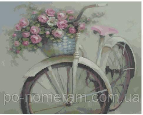 Раскраска для взрослых Велосипед и цветы (BRM4916) 40 х 50 ...