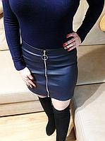 Синяя юбка мини эко-кожа с молнией, фото 1