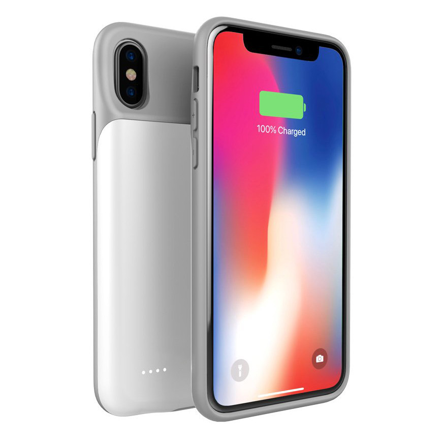 Чехол аккумулятор AmaCase для iPhone XS Max Белый (4000 мАч)