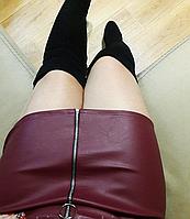 Бордовая юбка мини эко-кожа с молнией, фото 1