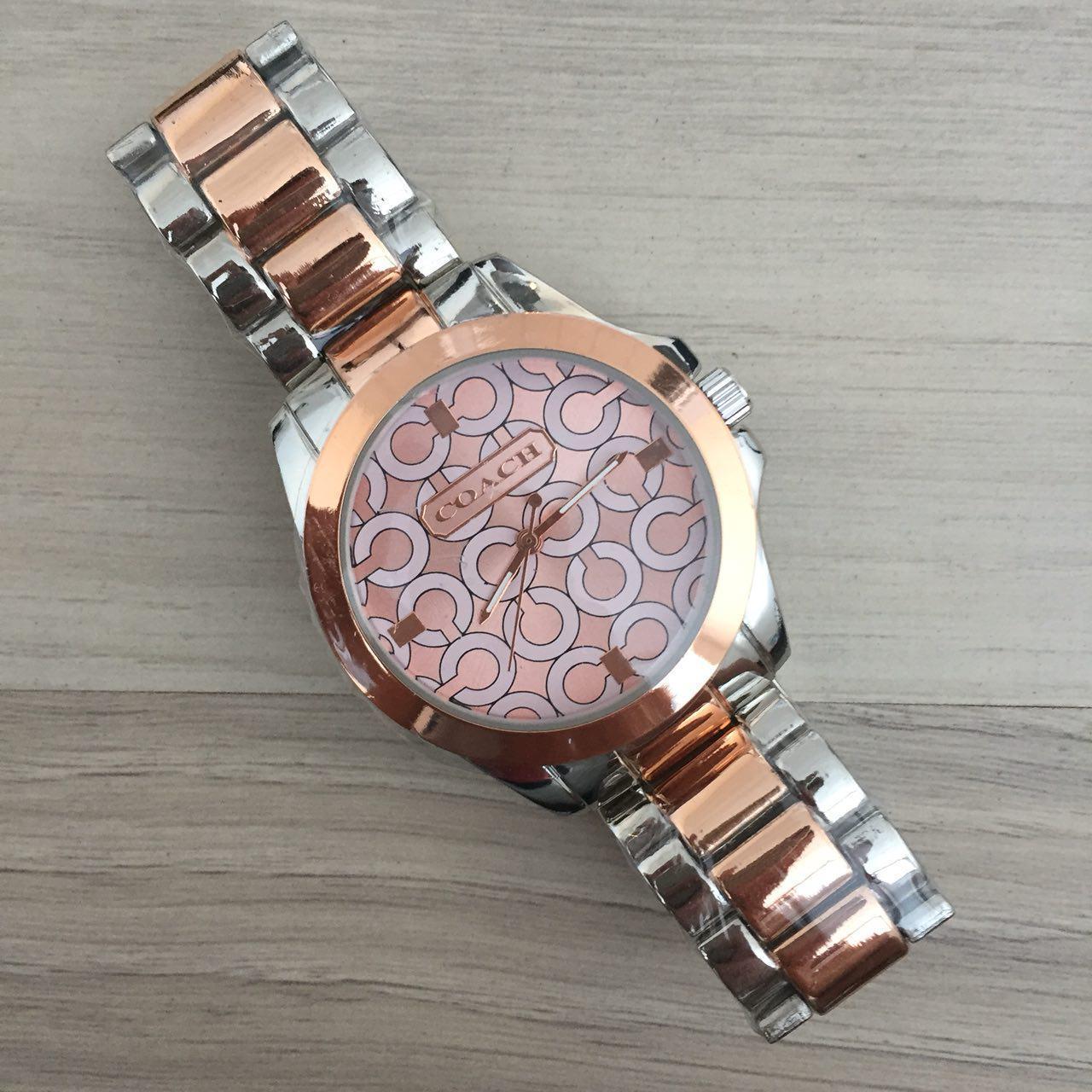 Женские часы Coach (Коач) Silver-Pink Браслет золотисто-серебристый браслет