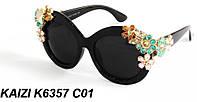 Солнцезащитные очки KAIZI 6357 черные с цветочками