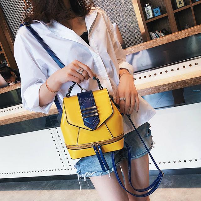 Женская сумка-рюкзак желтая