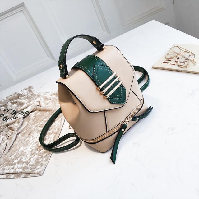 Женская сумка-рюкзак бежевая