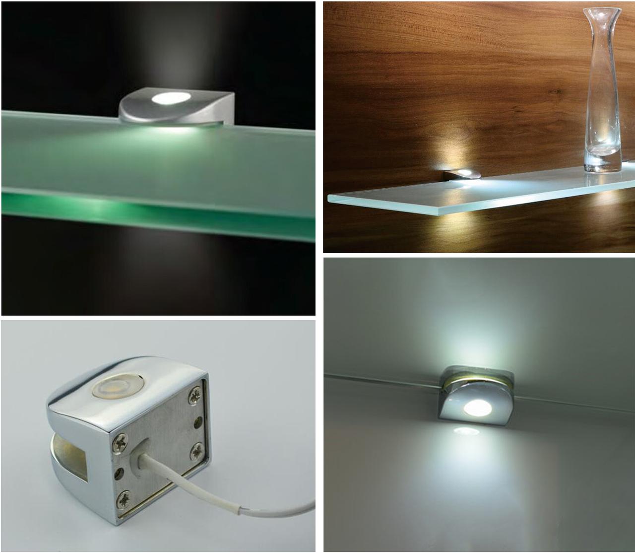 LED Подсветка (хром) полкодержатель   полок из стекла 6-8 мм 20777-03-CH-NW