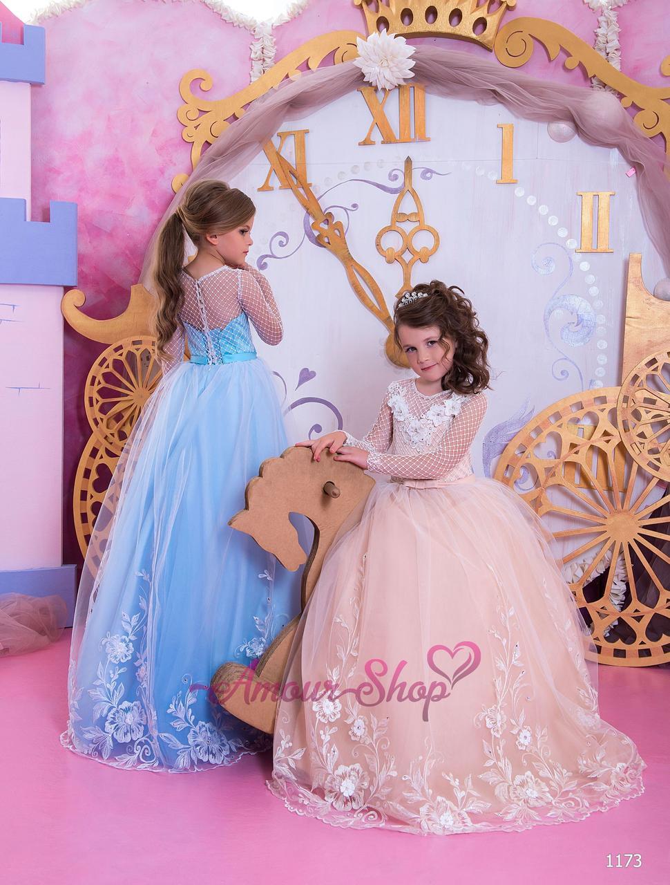 Детское нарядное выпускное платье на девочку 4,5,6,7,8,9,10,11лет (в садик, 4 класс),  1173