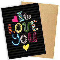 """Открытка с конвертом  """"I love you"""" 11х15см"""