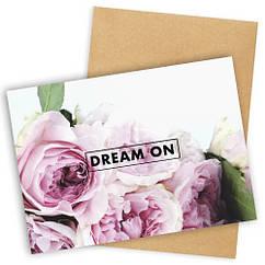 """Открытка с конвертом  """"Dream on"""" 11х15см"""