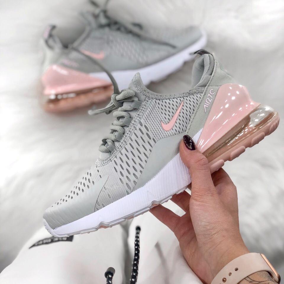 Жіночі кросівки Air Max 270 gray pink. Живе фото