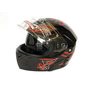 Шлем FGN трансформер с очками, черный с красным узором