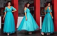 Женское платье в пол из сетки и кружева, с подъюбником