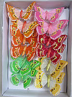 Бабочки из пера на прищепках, 12 шт в упаковке, (65)