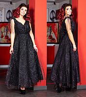 Женское платье в пол из сетки с напылением, размер 42-48