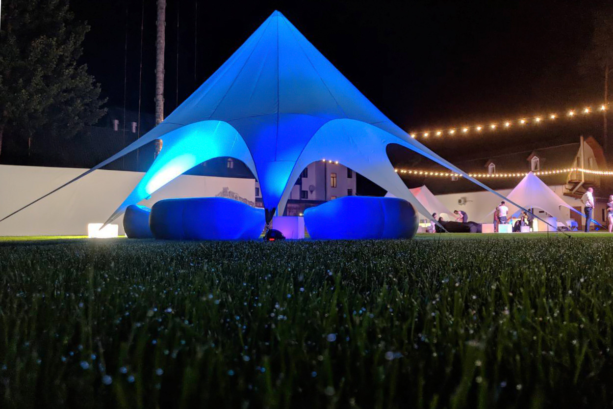 Палатка голубая, Звезда (бюджетная) 10  метровая, для отдыха по Украине