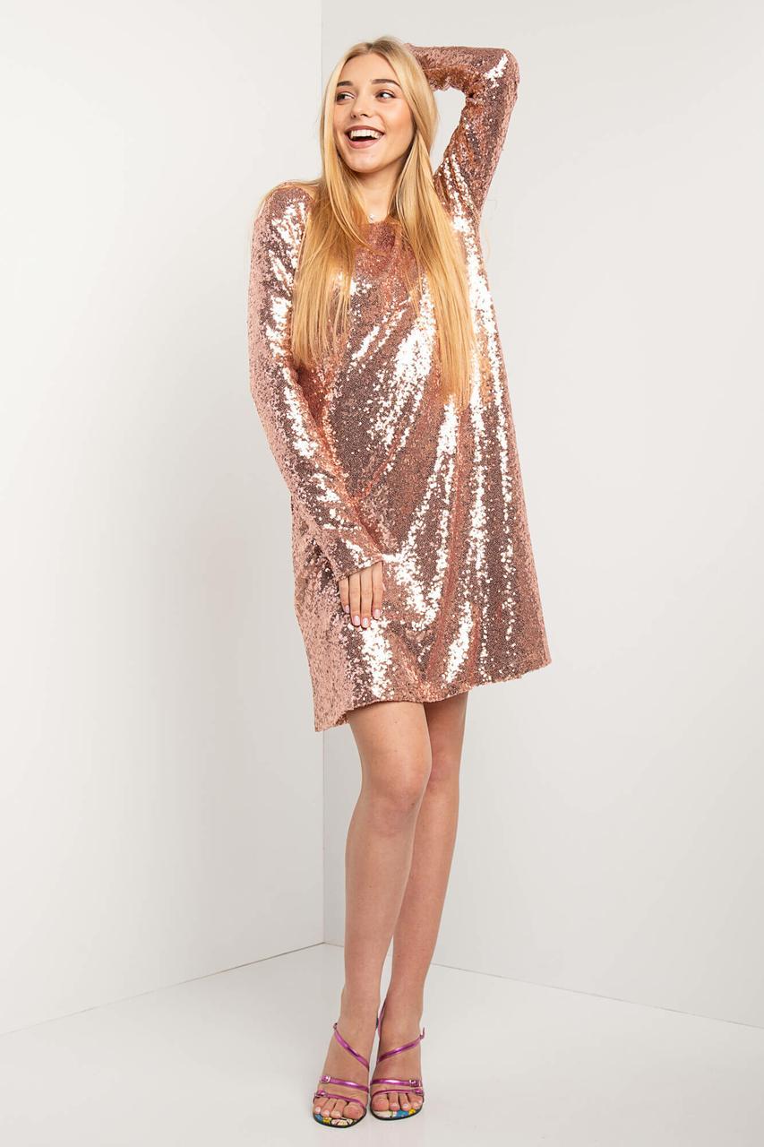 Блестящее платье ROBERTA Р с пайетками в бронзовом цвете