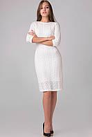 Вязаное женское платье ажурное «Брук» (Белое, бежевое   44, 46, 48)