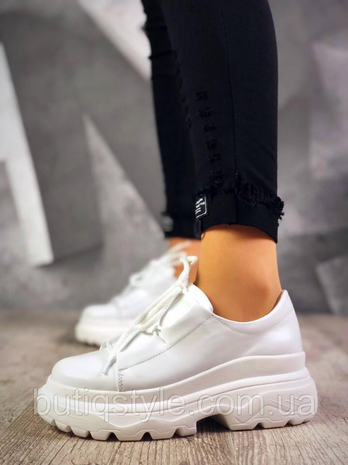 2e4e257a Женские кеды в стиле K@nzo белые натуральная кожа, на платформе ...