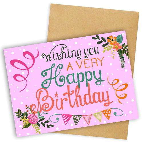"""Открытка с конвертом  """"Wishing you avery Happy Birthday"""" 11х15см"""