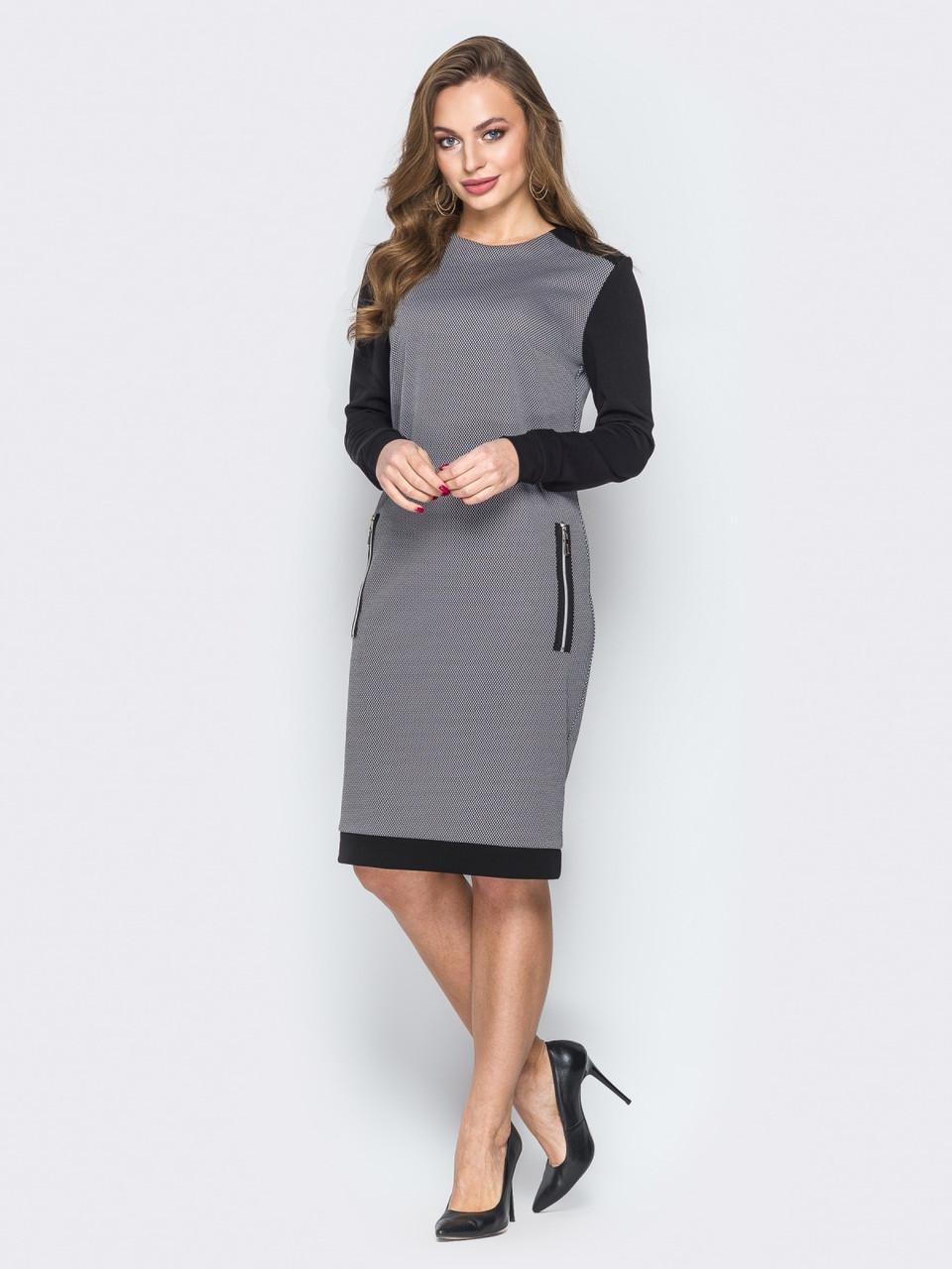9e0266bcdbd Стильное женское платье прямого кроя с контрастными рукавами р.44