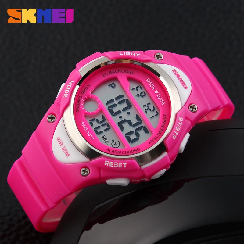 Skmei 1077 розовые детские спортивные часы
