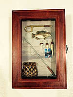 """Ключница  настенная, деревянная -"""" Рыбалка """" 58207 E"""
