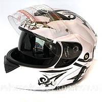 Шлем FGN трансформер с очками, белый с черным узором