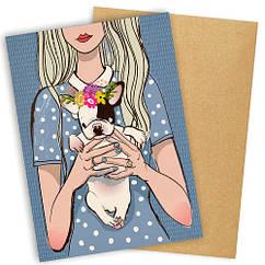 """Открытка с конвертом  """"Девушка с щеночком"""" 11х15см"""