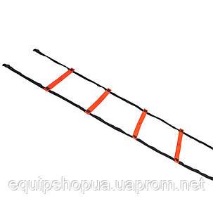 Координационная лестница SELECT Agillity ladder - indoor (216), оранж/черн (14 ступеней, 6 м), фото 2
