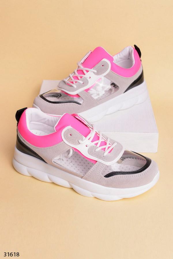 Оригинальные кеды-кроссовки серые с черным и розовым эко-кожа+замш+ силикон