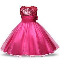"""Детское нарядное платье для девочки 3 - 5 года """"Lili малиновое"""""""